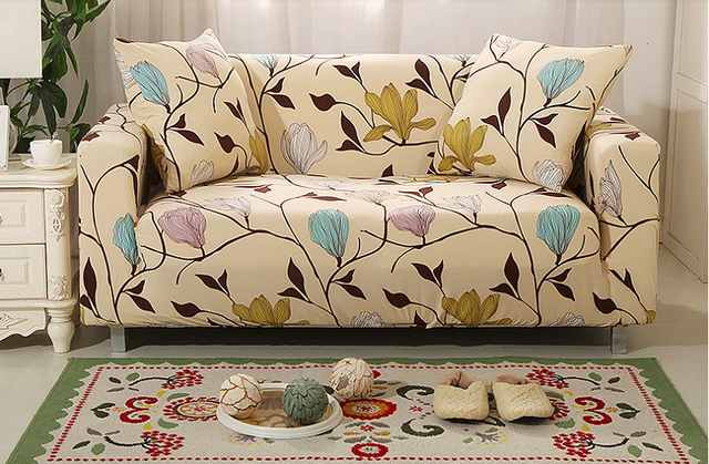 Spandex Stretch Flower Pattern Sofa Cover Elasticity 100 Polyester Furniture