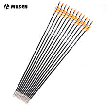 6/12/24pcs OD 7mm 31 Inches Archery Fiberglass Arrows with Plastic Feather for 30-40 lbs Bow Shooting Hunting Practice