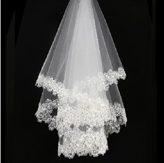 Women Bridal Short Wedding Veil White One Layer Lace Flower Edge Appliques Without Comb