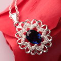 Women's Amethyst Pendant 925 Sterling Silver Pendant Pendulum For Necklace Attractive Charms Green Red Blue Crystal Pendants