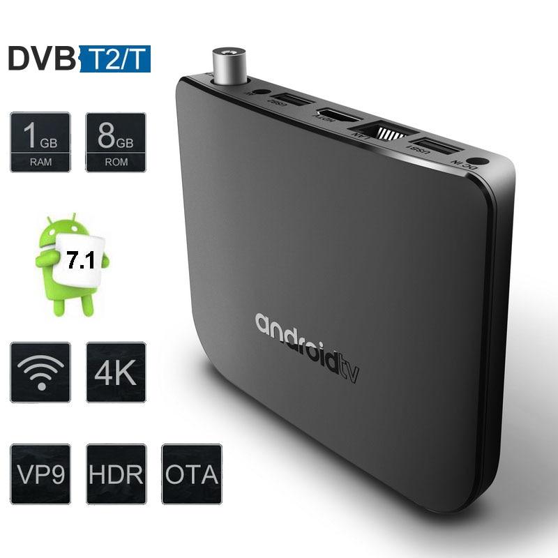 Mecool M8S Plus DVB T2 TV Box Android 8.0 Amlogic S905D Quad Core 1GB 8GB Wifi 4K Streaming Media Player 5pcs DHL Set Top Box