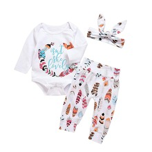 Oklady 2019 Lovely Baby Girls Clothes Set Romper for Girl Long Sleeve Leaves Pants Bunny Headband Fall Outfit 3M-12M