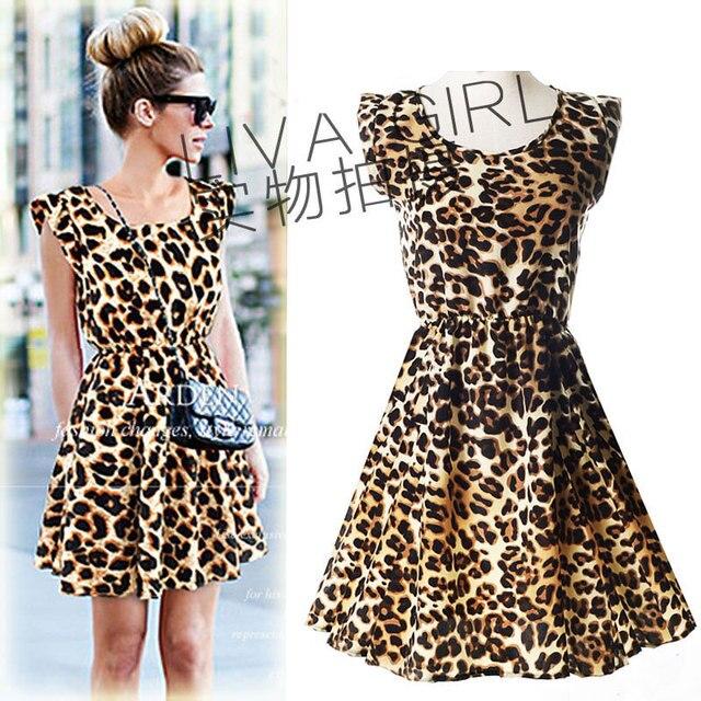 2015 nueva llegada del verano mujeres sin mangas del vestido moda Casual o-cuello del leopardo plisado del partido de tarde elegante WS004