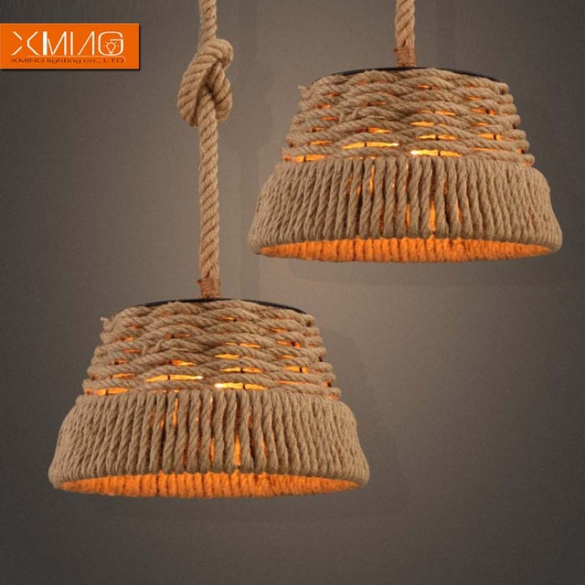 Vintage industrial pendant lights fixtures Hemp rope lampshade for kitchen light loft retro lamp dining room design lamp