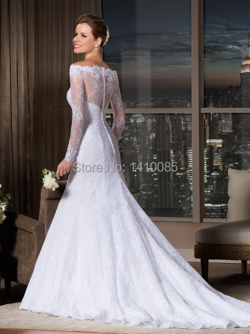 Robe De Mariage 2015 Sexy Long Sleeve Lace Mermaid Wedding Dress ...
