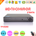 Caja de metal de 16 canales dahua hisi chip dos sata 1080 p/1080n/960 p/720 p/960 h cinco en Un Híbrido NVR CVI TVi AHD DVR DEL Envío gratis