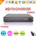 Hisi Чип Dahua Металлический Корпус 16 Канал Два Sata 1080 P/1080N/960 P/720 P/960 H пять в Одном Гибридный NVR CVI TVi AHD DVR Бесплатная доставка