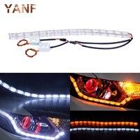 2Pcs Car Styling LED Knight Rider Strip LED Daytime Running Light Turn Signal LightS Flowing Yellow