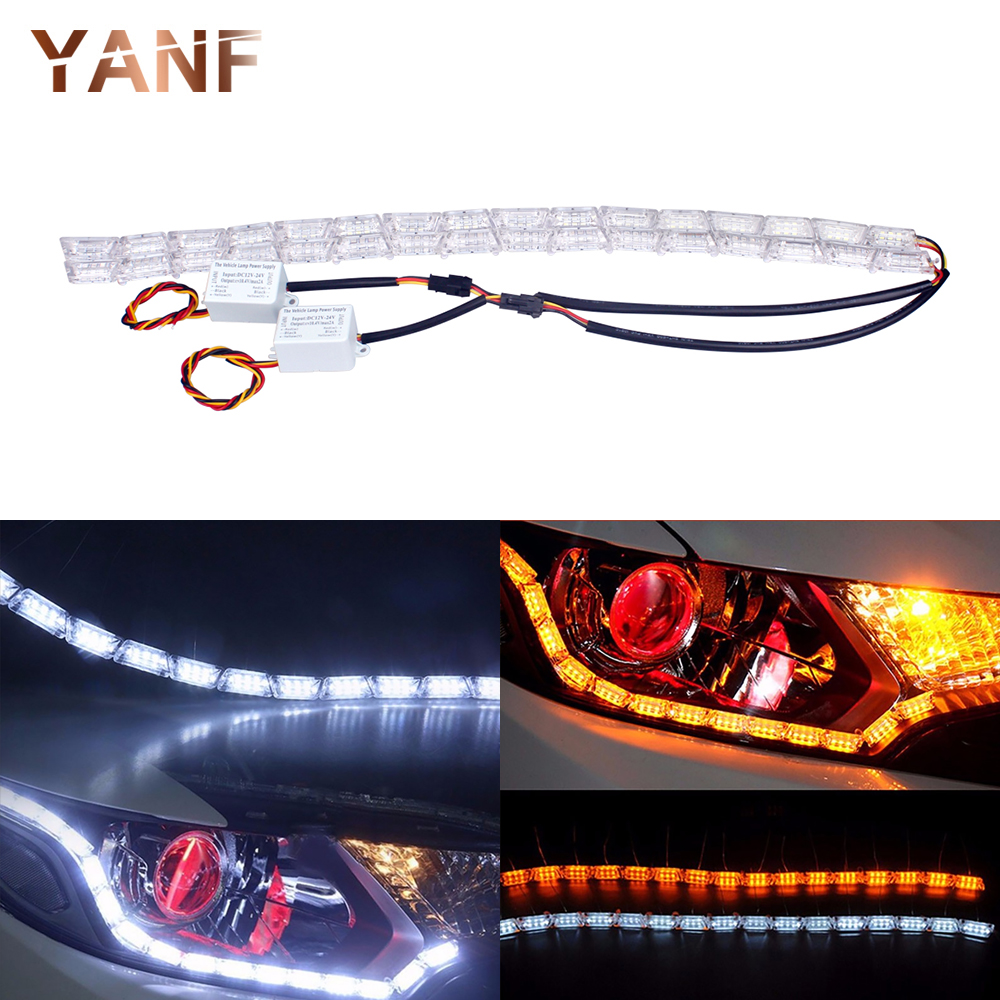 2Pcs Car Styling LED Knight Rider Strip LED Daytime Running Light Turn Signal LightS Flowing Yellow Steady Crystal Bar DRL Lamp 2pcs 12v car drl led daytime running light flexible tube strip style tear strip car led bar headlight turn signal light parking