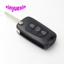Xinyuexin Flip Remote Car Key Shell FOB Case For Hyundai I30 IX35 For Kia K2 K5 3 Buttons Replacement Case FOB Shell With Logo keyyou 3 buttons flip folding remote key shell for hyundai i20 i30 ix35 for kia k2 k5 fob car key shell case cover replacement