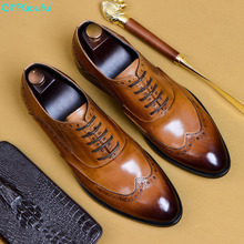 Men Dress Shoe Brand Fashion Groom Wedding Shoes Genuine Leather Pointed Toe Lace Up Men Business Brogue Shoes US 11.5 men shoes quality leather dress round toe shoe men brand brogue black business wedding casual shoes
