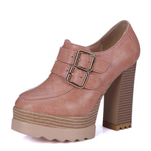 2016 New Spring And Autumn Thick High Heeled Pumps Round Toe Lacing Female Platform Shoes Casual Office Lady Shoes Square Heeled