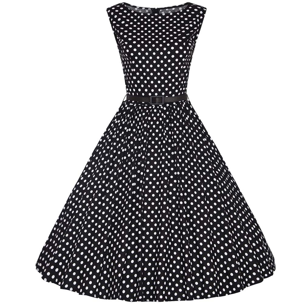 Buy Cheap Women's Vintage Style O-Neck Sleeveless Knee-Length Polka Dot Rockabilly Swing Pinup Prom Party Plus Size 4XL Summer Dress 2017