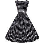 Save 18.28 on Women's Vintage Style O-Neck Sleeveless Knee-Length Polka Dot Rockabilly Swing Pinup Prom Party Plus Size 4XL Summer Dress 2017