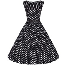 Women's Vintage Style O-Neck Sleeveless Knee-Length Polka Dot Rockabilly Swing Pinup Prom Party Plus Size 4XL Summer Dress 2017