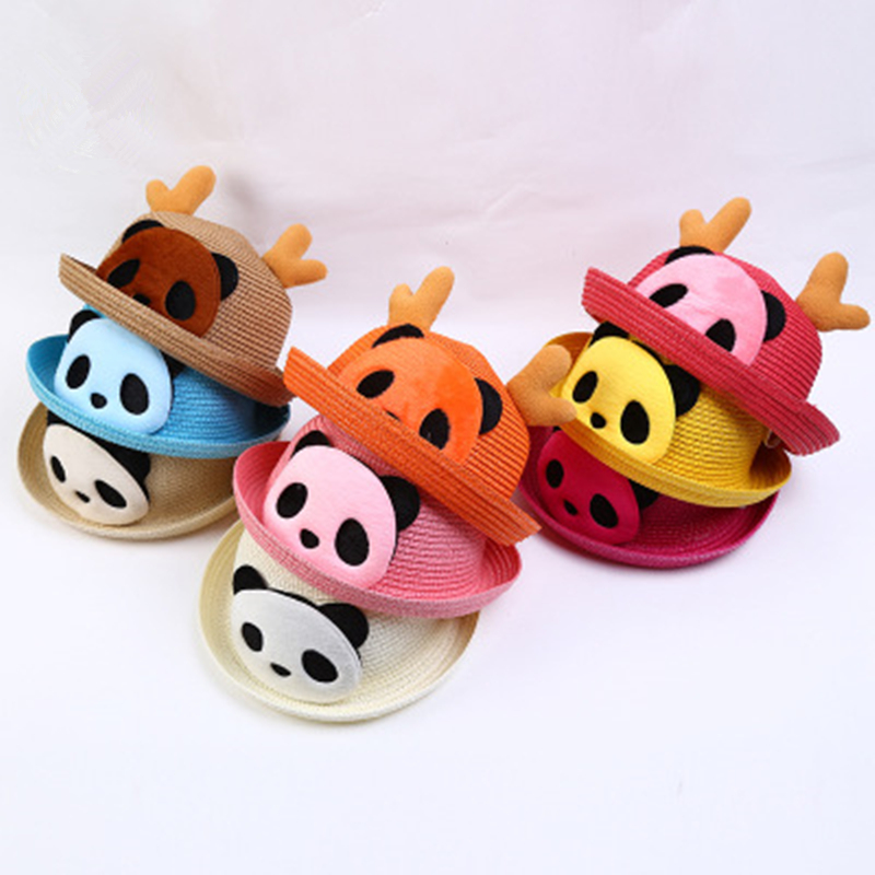 1Pcs Fashion Children Panda Cartoon Novelty Sun Hat Summer Lovely Comfortable Antlers Straw Hat Beach Cap For 2-6 Years 9 Colors(China)