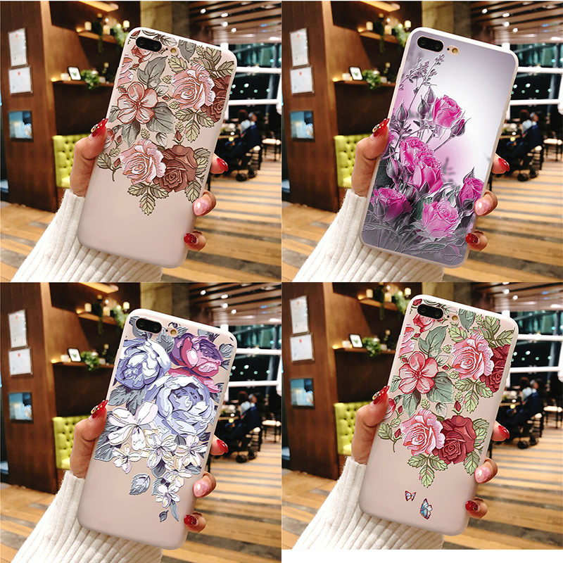 3D Relief Flower Case For Samsung Galaxy A70 A7 A9 A10 A20e A30 A40 A50 A60 A6 A8 J4 J6 S6 S7 S8 S9 S10 Plus S10e Note 9 8 Coque