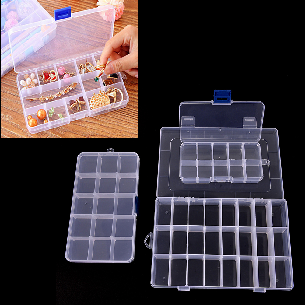 15/10/24 Slots Adjustable Jewelry Storage Box Case Clear Jewelry Bead Organizer Box Storage Container Case Craft Organizer Tool