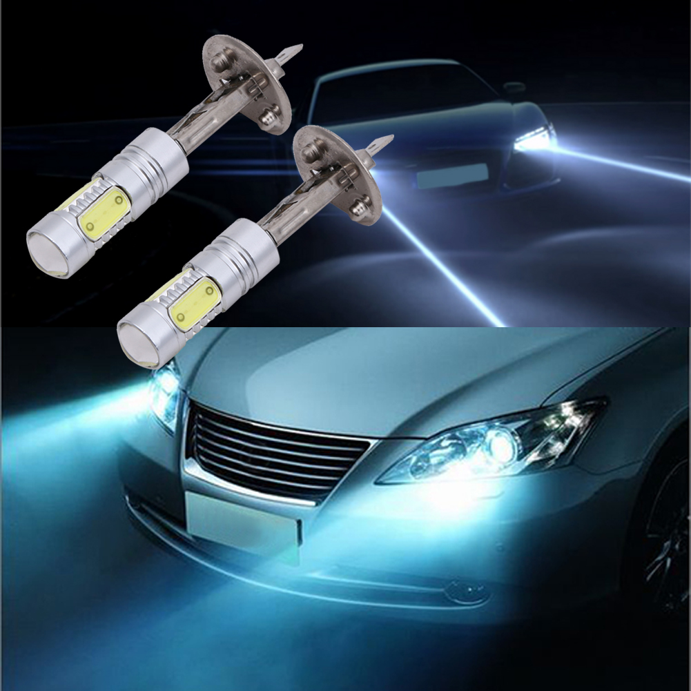 2Pcs Car-styling Fog Light Bulb H1 COB Car LED Headlight Headlamp 6000K High Power Auto Light-emitting diode Lamp Accessory 12V auxmart car led headlight h4 h7 h11 h1 h3 9005 9006 9007 cob led car head bulb light 6500k auto headlamp fog light