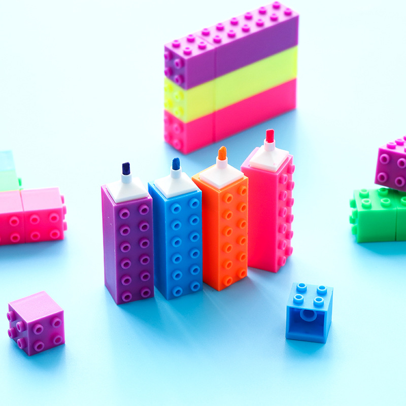 6pcs Mini Building Up Block Pen Color Highlighter Marker Pen Writing Drawing Kid Gift Stationery Office School Supplies A6201