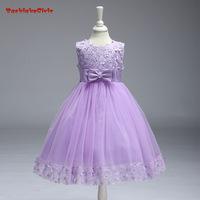 BacklakeGirls Cheap   Flowers     Girl     Dress   With Bow Sleeveless   Dresses   With Ribbon Elegant Party Knee-Length Communion   Dresses