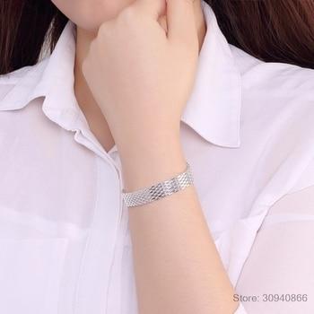 LEKANI Women's Fashion bracelet 925 sterling silver soft watchband charm bracelet & bangles fine jewelry Pulseiras de Prata 1