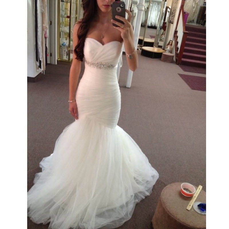 Sweetheart Mermaid Wedding Gown: MZYW0012 Strapless Sweetheart Neckline Ruched Bodice