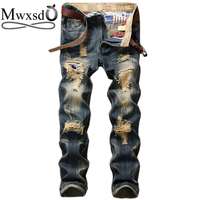 Mwxsd brand Casual Men's Motorcycle hole jeans fashion Embroidery distressed Jeans Men Wash Rock Style Casual Street Jeans