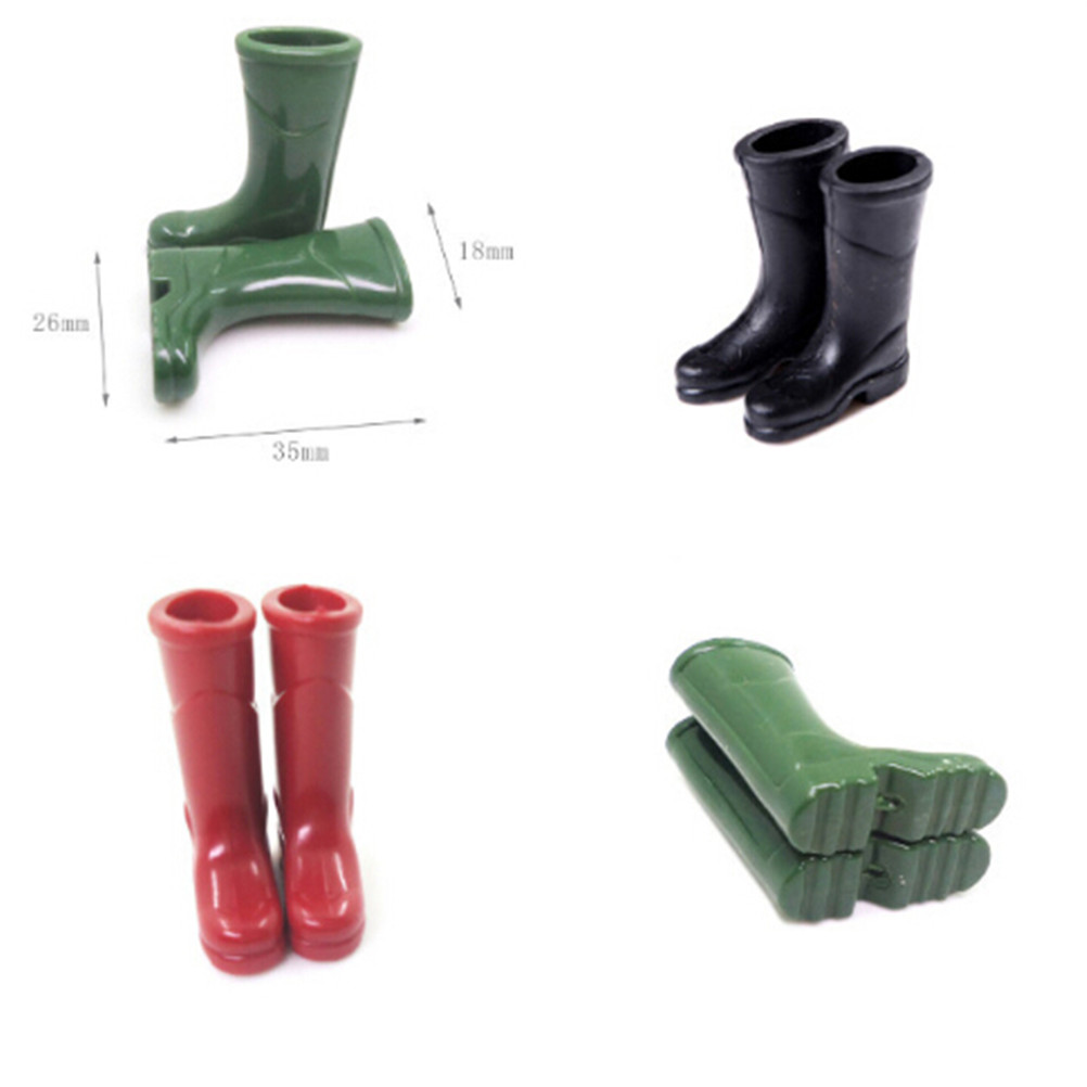 1Pairs 1/12 Scale Dollhouse Miniature Rubber Rain Boots Home Garden Yard Decoration Dolls Accessories Red Blue Black