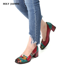 hot deal buy 2019 spring/autumn new high heels fashion women shoes heels round toe square heels female flower pumps high quality work shoes
