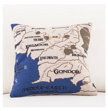 Map of Middle-earth World Emoji Throw Messager Decorative Vintage Lumbar Pillows Cover Pillow Case Home Decor Family Kids Gift