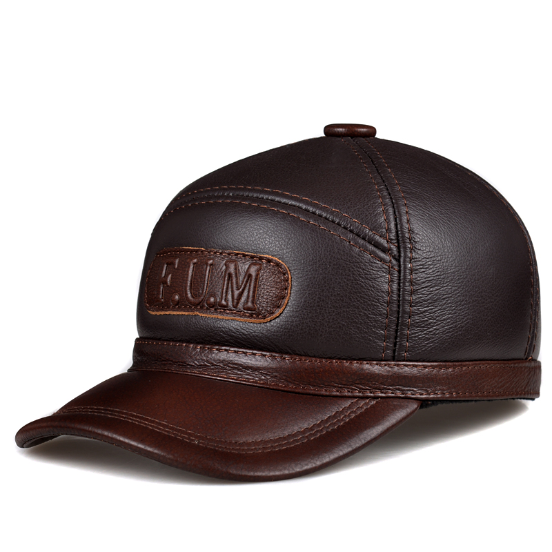 RY132 Winter Real Leather Fur One Baseball Caps For Man Male Adjustable Letters Casquette Black Brown