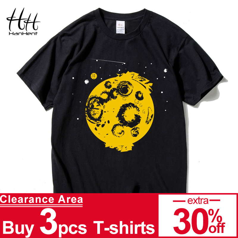ae702159 HanHent Space Shirt Printed Cotton O-Neck Tops Tees 2018 Streetwear Stars  Black T shirt