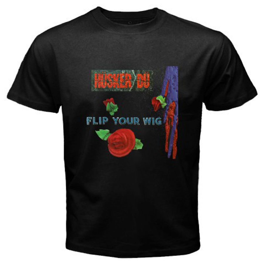 New HUSKER DU *Flip Your Wig Punk Rock Band Mens Black T-Shirt Size S To 2XL Tees Brand Clothing Funny T Shirt Light