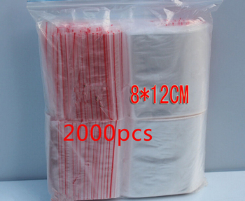 2000pcs 8x12cm pe transparent travel gift packaging bags plastic bag for necklace/jewelry diy custom ziplock clear self seal bag