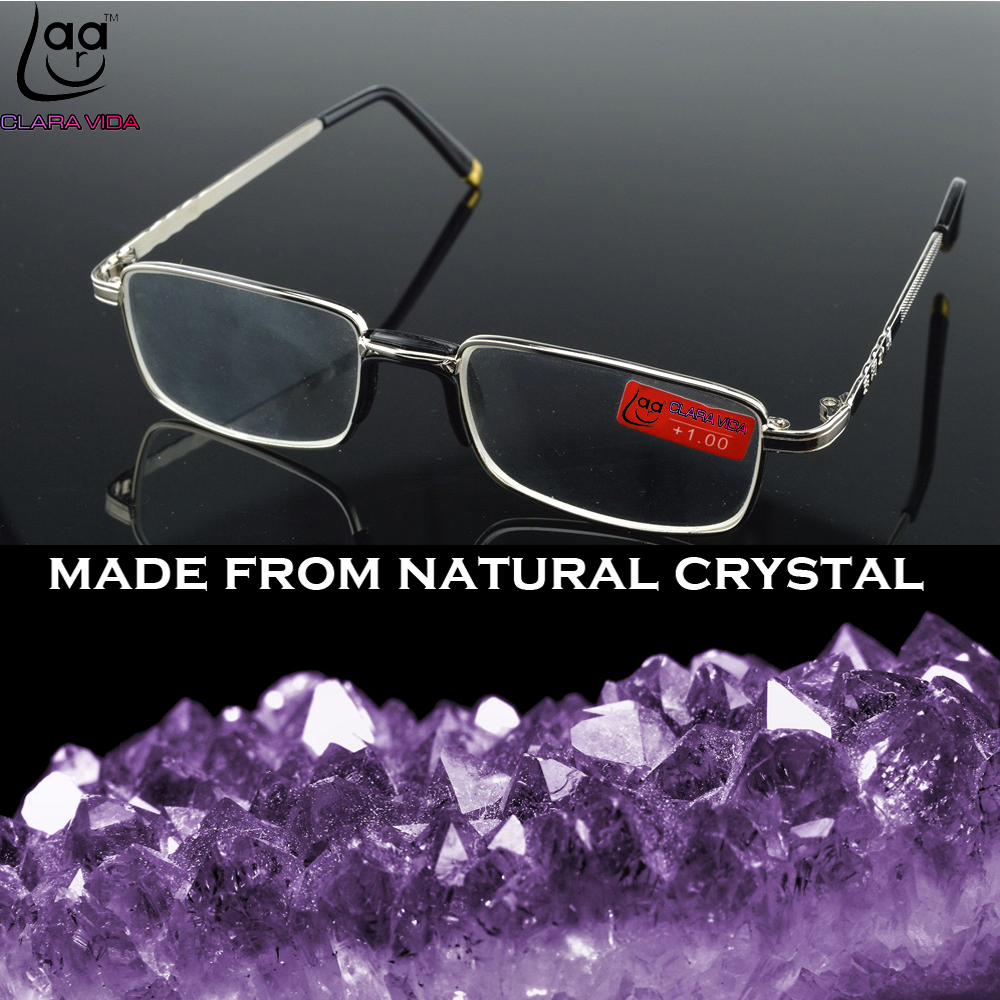 = CLARA VIDA =TWO PIECES Full-Rim Natural Crystal Lenses Alloy Comfortable Nose Pad Reading Glasses +1 +1.5 +2 +2.5 +3 +3.5 +4