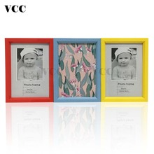Desktop Plastic Photo Frame Children Picture Pleix Glass Inside Red Yellow Blue Classic Minimalist 9x13 13x18cm VCC