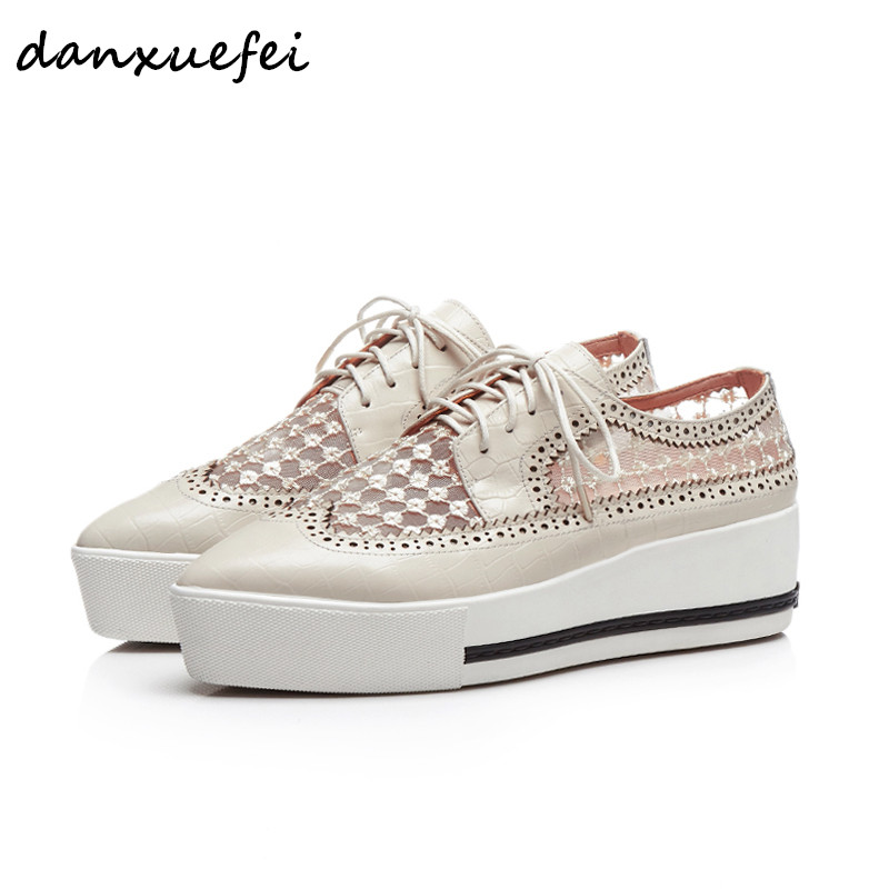 Women's genuine leather mesh embroidery lace-up british style lace-up platform flats oxfords brand designer pointed toe shoes 40 все цены
