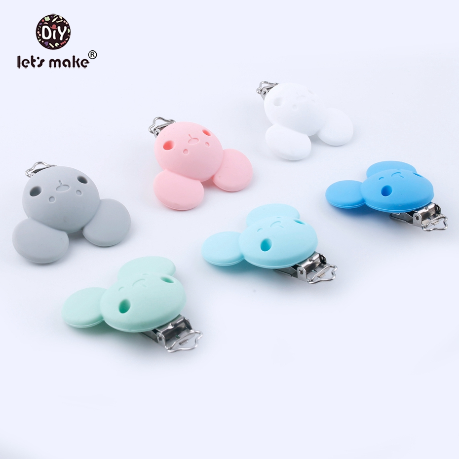 Let's Make 10pcs Silicone Bear Head BPA Free Pacifier Clips Holder Cartoon Clip For DIY Dummy Clip Accessories Feeding Toy Clips
