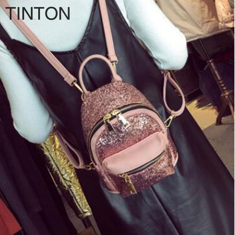 2018 new pu leather backpack woman bags sequin decoration woman backpacks leather bag for teenager girls top-handle back pack