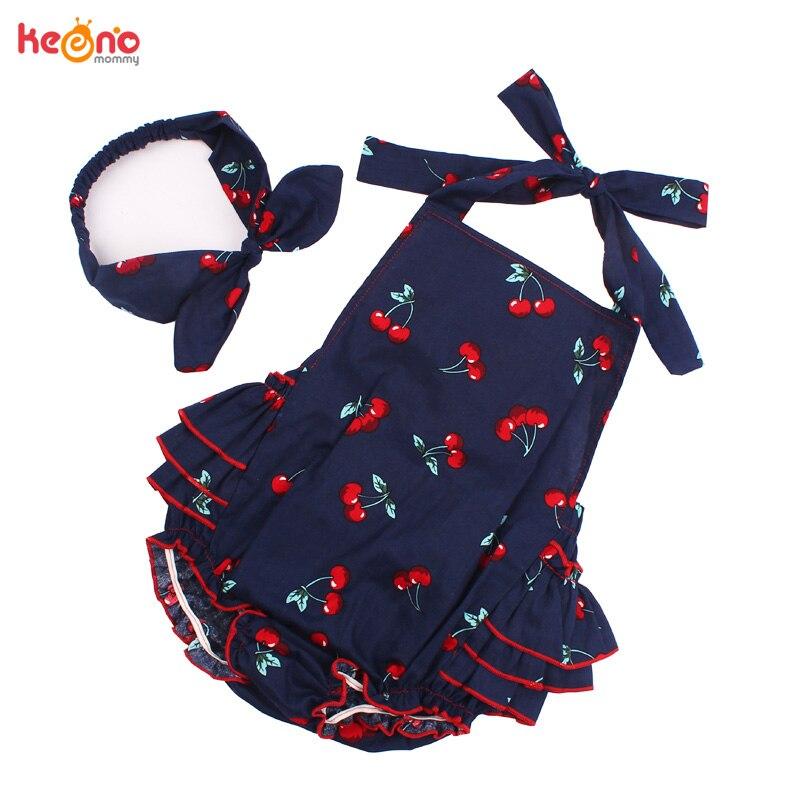 Baby Girl Rompers Set Toddler Cotton Ruffled Romper and Headband Lemon Cherry Vintage Children Sunsuit Baby Shower Gift
