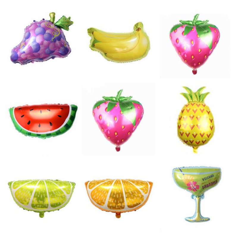 Cartoon Hat Large Fruit Strawberry Pineapple Watermelon Foil Balloons Birthday Summer Party Helium Decor Kids Toy Gift Supplies