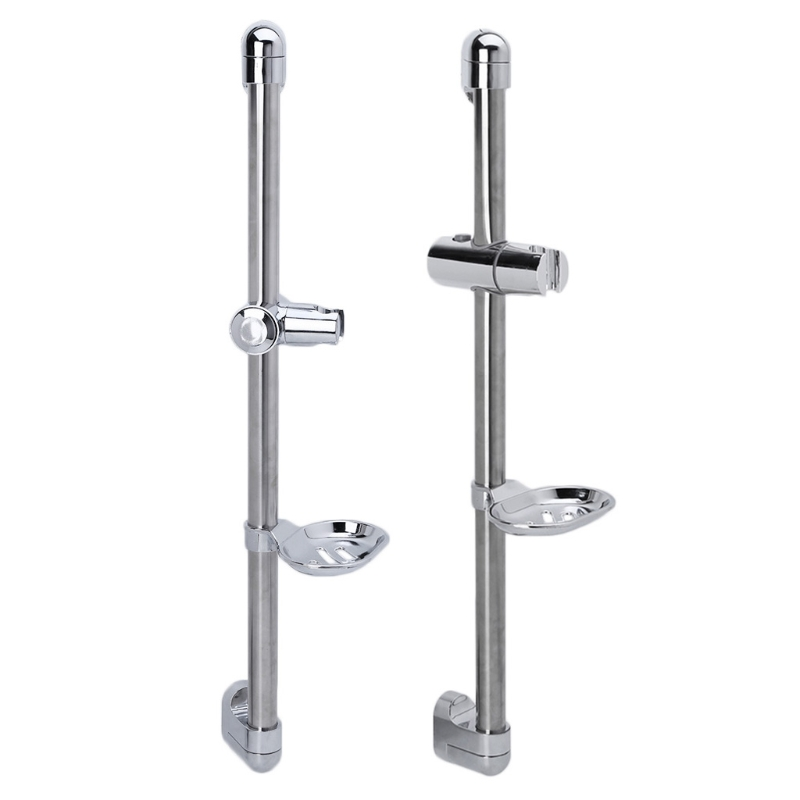 Stainless Steel Shower Rod With Soap Dish Lifter Stainless Steel Pipe ABS Lifting Frame Adjustable Shower Head Holder
