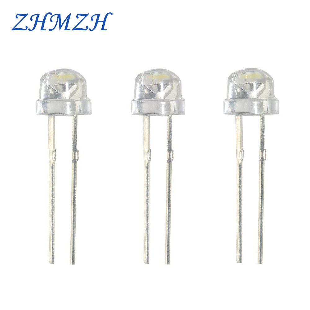 50pcs/Lot High Brightness LED Straw Hat Lamp Bead Light-emitting Diode DIY Light Beads 5mm DC3V Light Emitting Diodes (LEDs)
