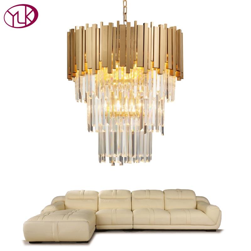 Youlaike Modern Chandelier Lighting Luxury Living Room Kitchen Island Crystal Lights Long Gold Polished Steel Hanging