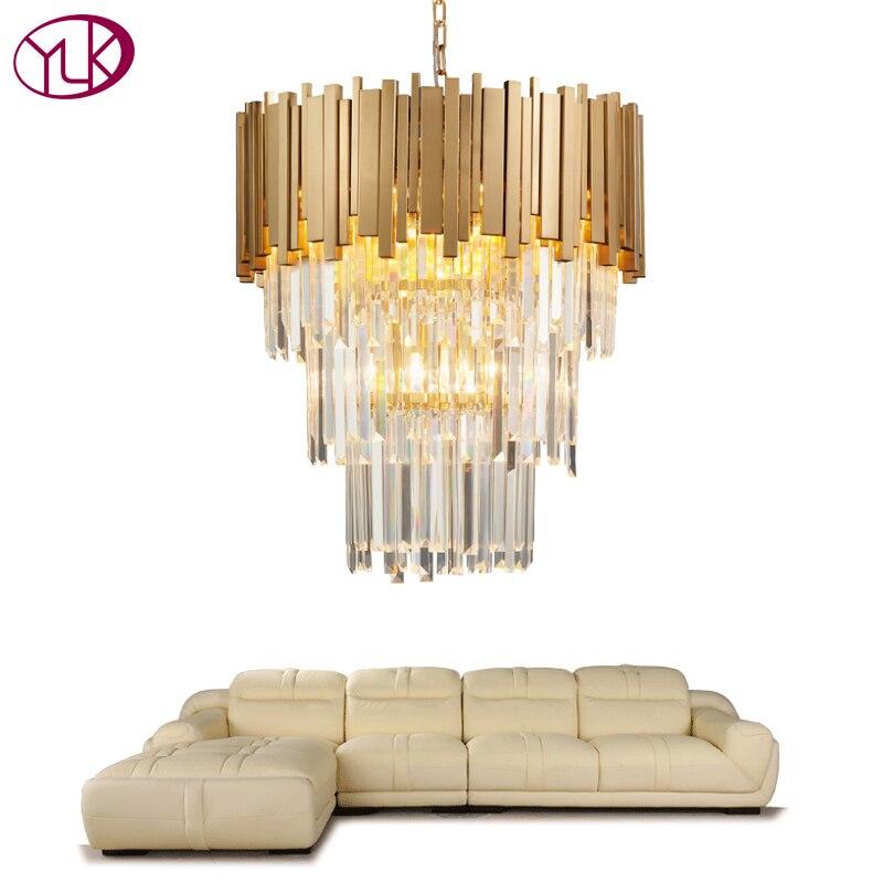 Youlaike Luzes de Cristal Moderna Iluminação Lustre de Luxo Sala de estar Cozinha Ilha Longo Ouro Polido Aço Hanging LED Lustre