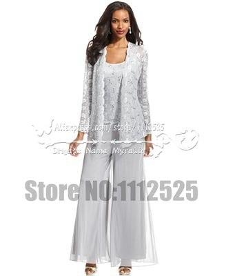Amp1007 encaje blanco 3 unid madre de la novia traje