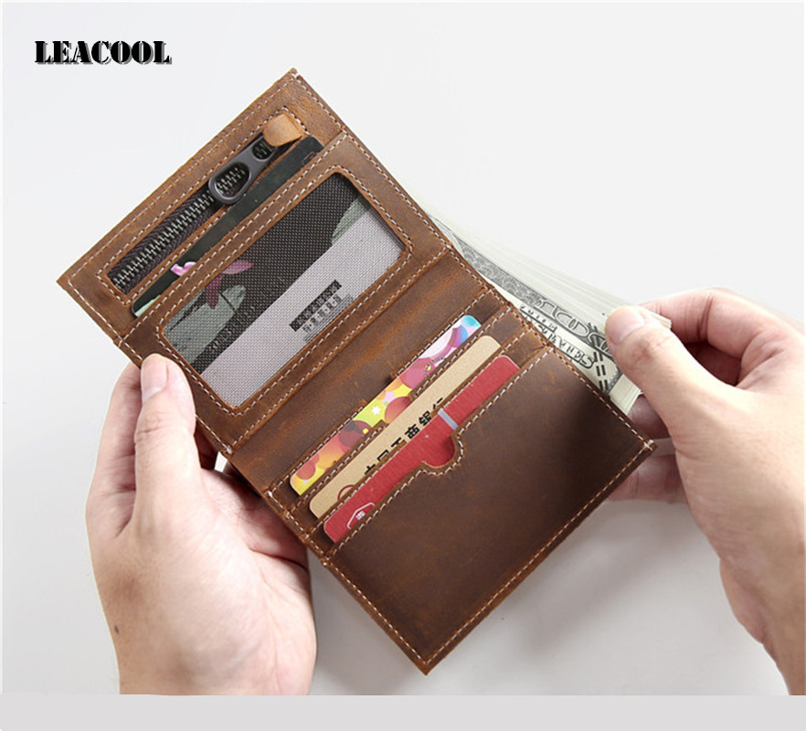 100% Genuine Leather Small Mini Ultra-thin Wallets men Compact wallet Handmade wallet Cowhide Card Holder Short Design purse New ultra thin colorfulcascading pull out card holder wallet