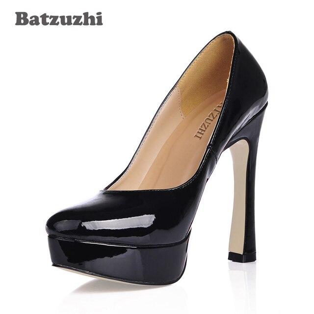 45c4e2f58a0 Batzuzhi Fashion Women Heels Luxury Designer Shoes Black 12.4CM Heels  Platform Shoes Women PU Leather Pumps Women Party Runway