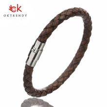 OKTRENDY Black Genuine Braided Leather Bracelet Men Women Stainless Steel Magnetic Clasp Male Bracelets Bangles Punk Jewelry